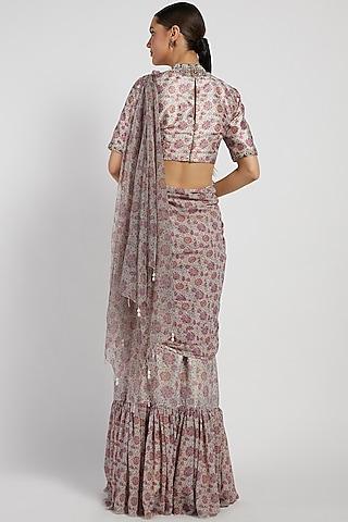 Pink Bloom Printed Saree Set by Rabani & Rakha