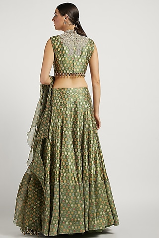 Green Printed Lehenga set With Butti Work by Rabani & Rakha