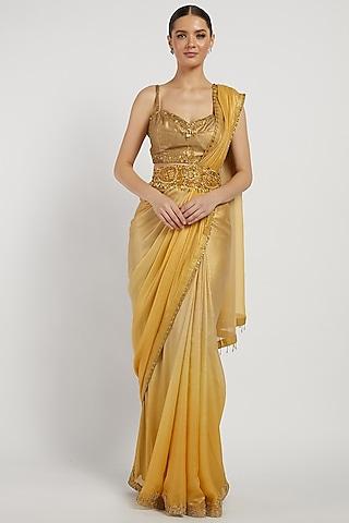 Gold Hand Embroidered Saree Set by Rabani & Rakha