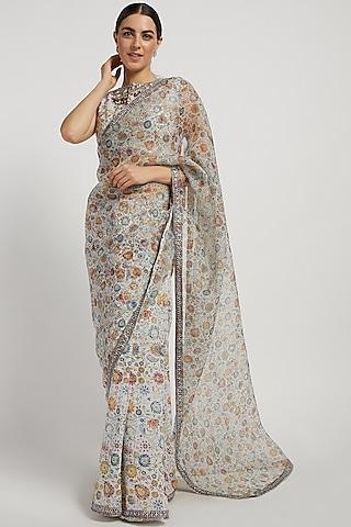 Ivory Printed Saree Set by Rabani & Rakha