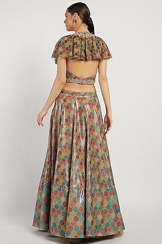 Multi Colored Trellis Lehenga Set by Rabani & Rakha
