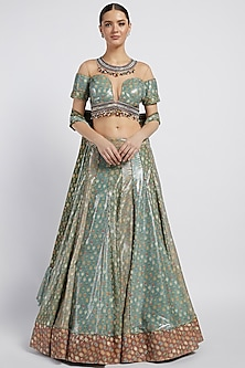 Multi Colored Printed Kalidar Lehenga Set by Rabani & Rakha