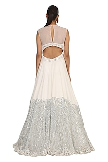 Ivory Embroidered Gown by Rabani & Rakha