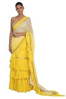 Lemon Yellow Embroidered Lehenga Saree Set by Rabani & Rakha