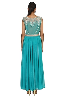 Aqua Blue Embroidered Roughed Anarkali Set by Rabani & Rakha