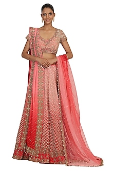 Red Shaded Embroidered Lehenga Set by Rabani & Rakha