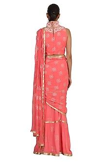Pink Embroidered Lehenga Saree Set by Rabani & Rakha