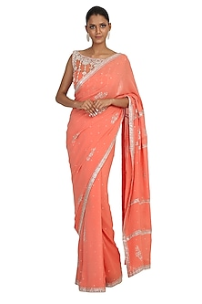 Peach Embroidered Saree Set by Rabani & Rakha