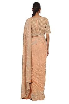 Peach Hand Embroidered Saree Set by Rabani & Rakha