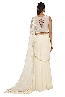 Ivory Embroidered Pre-Stitched Saree Set by Rabani & Rakha