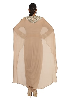 Golden Embroidered Blouse With Attached Cape & Dhoti Pants by Rabani & Rakha