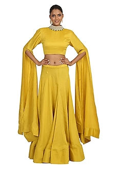 Yellow Embroidered Crop Top With Skirt by Rabani & Rakha