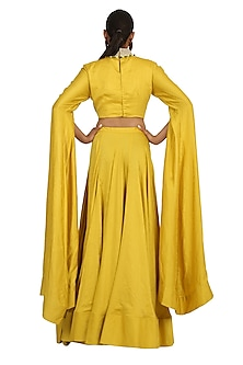 Yellow Embroidered Crop Top With Skirt by Rabani & Rakha