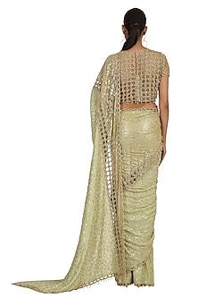 Sage Green Embroidered Saree Set by Rabani & Rakha