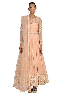 Peach Embroidered Anarkali Set by Rabani & Rakha