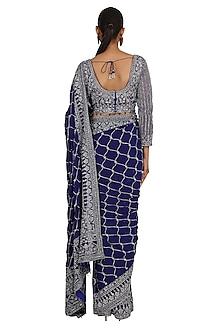 Blue Embroidered Saree Set by Rabani & Rakha