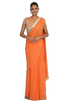Peach Embroidered Lehenga Saree Set by Rabani & Rakha