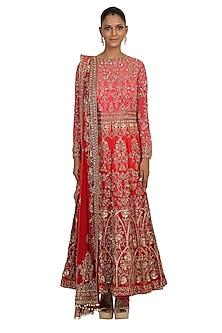 Red Shaded Embroidered Anarkali Set by Rabani & Rakha