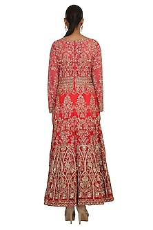 Red Shaded Embroidered Anarkali Set by Rabani & Rakha