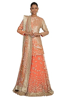 Peach Printed & Embroidered Lehenga Set by Rabani & Rakha