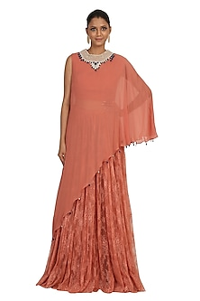 Salmon Pink Embroidered Cape With Blouse & Sharara Pants by Rabani & Rakha