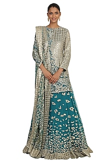Peacock Blue Printed & Embroidered Lehenga Set by Rabani & Rakha