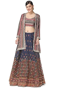 Dark Blue Embroidered Jacket Lehenga Set by Rabani & Rakha