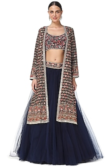 Dark Blue Thread Embroidered Jacket Lehenga Set by Rabani & Rakha