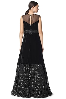 Black Hand Embroidered Gown by Rabani & Rakha