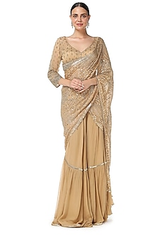 Gold Embroidered Lehenga Saree Set by Rabani & Rakha-SHOP BY STYLE
