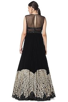 Black Sequins Embroidered Gown With Top by Rabani & Rakha