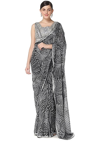 Black Flame Work Embroidered Saree Set by Rabani & Rakha