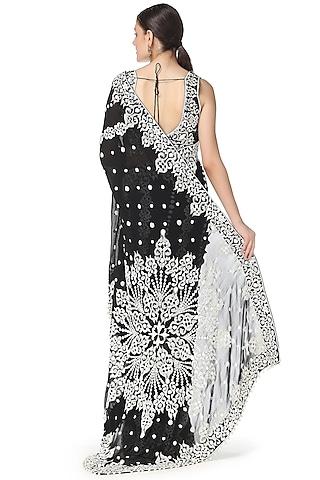 Black Butta Embroidered Saree Set by Rabani & Rakha