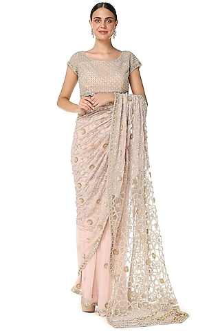 Blush Pink Pearls Embroidered Saree Set by Rabani & Rakha