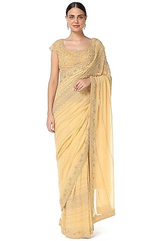 Honey Yellow Embroidered Saree Set by Rabani & Rakha