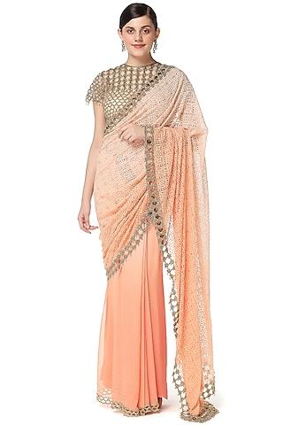 Orange Embroidered Two Piece Saree Set by Rabani & Rakha