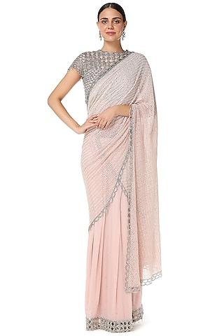 Blush Pink Embroidered Two Piece Saree Set by Rabani & Rakha