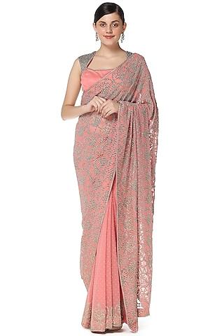 Pink Cutdana Hand Embroidered Saree Set by Rabani & Rakha