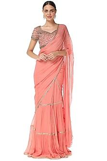 Pink Cutdana Embroidered Lehenga Saree Set by Rabani & Rakha