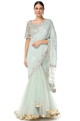 Aqua Blue Embroidered Lehenga Saree Set by Rabani & Rakha