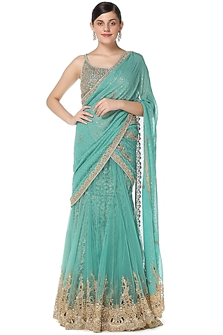 Green Embroidered Lehenga Saree Set by Rabani & Rakha