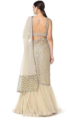 Sage Green Embroidered Lehenga Saree Set by Rabani & Rakha