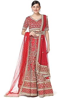 Red Hand Embroidered Bridal Lehenga Set by Rabani & Rakha