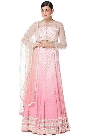 Shaded Pink Embroidered Lehenga Set by Rabani & Rakha