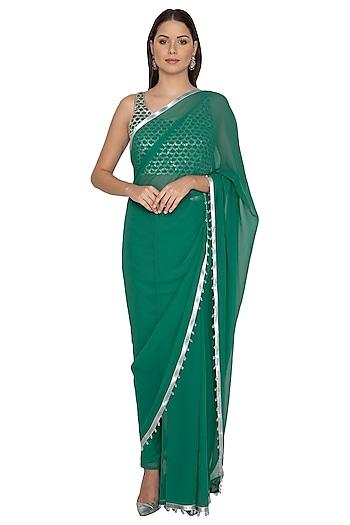 Emerald Green Embroidered Pant Saree Set by Rabani & Rakha