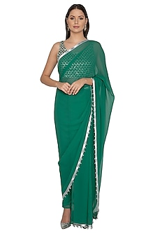 Emerald Green Embroidered Pant Saree Set by Rabani & Rakha