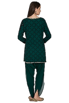 Green Embroidered Kurti With Tulip Pants by Rabani & Rakha