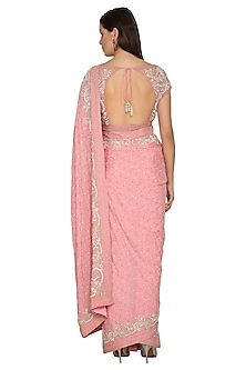 Rose Pink Embroidered Shimmer Saree Set by Rabani & Rakha