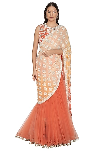 Peach Georgette Lehenga Saree Set by Rabani & Rakha