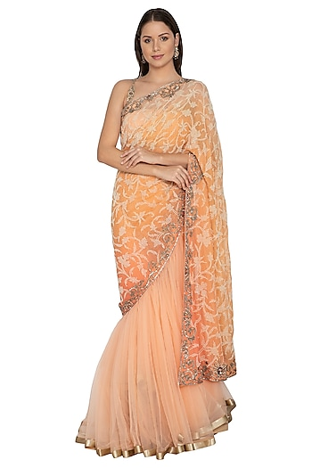 Peach Shimmer Lehenga Saree Set by Rabani & Rakha